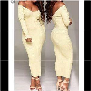 Beige off the shoulder maxi dress
